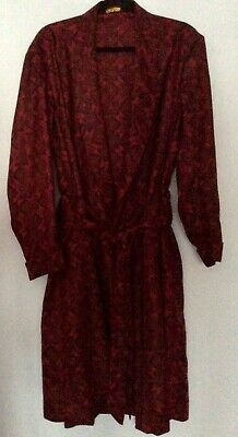 vintage 50s 60s Tootal red & black Tricel stamp belted dressing gown robe L 46""