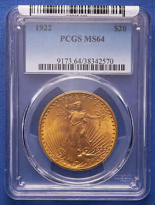 1922 $20 St. Gaudens Double Eagle Gold Coin PCGS MS 64 Better Date!