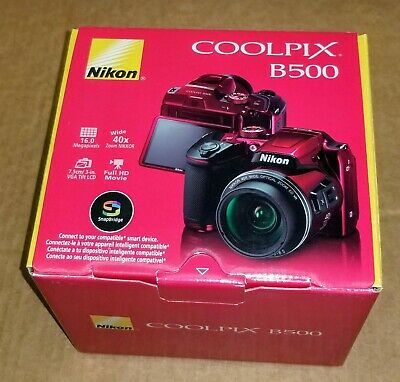 "Nikon Coolpix Red B500 16MP Digital Camera with 3"" LCD & 40x Optical Zoom Red"
