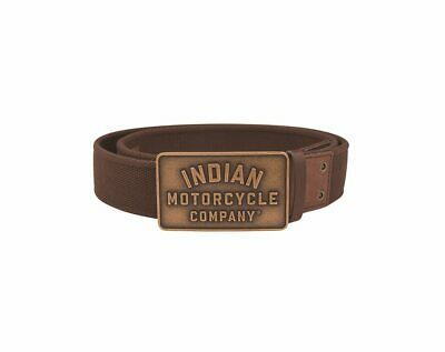 Indian Motorcycle Leather and Textile Belt with Metal Buckle, Brown