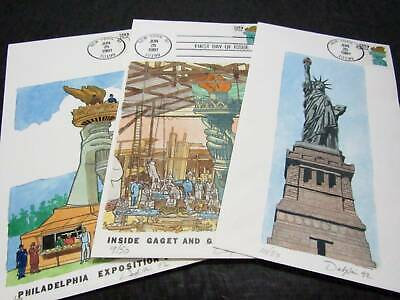 NobleSpirit No Reserve} Lovely 3x US DESPAIN Hand Painted Statue of Liberty FDCs