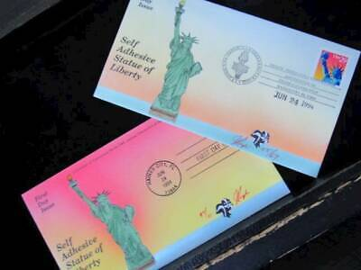 NobleSpirit No Reserve } Lovely PUGH Hand Painted Statue of Liberty 2x FDCs