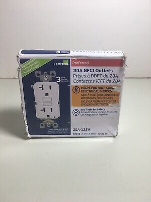 3pk Leviton GFNT2-3W 20A White Self-Test SmartlockPro GFCI Receptacle Tested