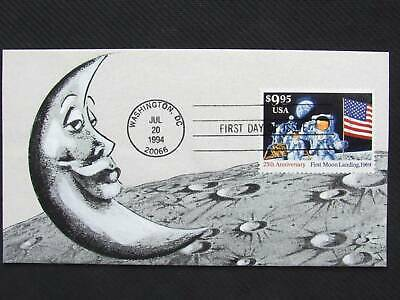 NobleSpirit No Reserve} Lovely B. MONTGOMERY Hand Painted $9.95 Moon Landing FDC