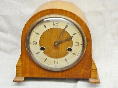 smiths 8 day small mantel clock floating balance light wood key pendulum 1950s
