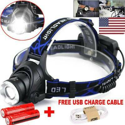 900000Lumen T6 LED Headlamp Zoomable 18650 USB Rechargeable Head Torch Headlight