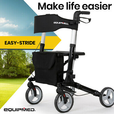 EQUIPMED Rollator Walking Frame Walker Foldable Seat Aluminium Mobility Aid