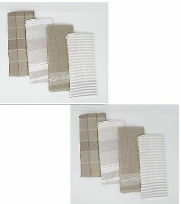 Gourmet Club Flat Woven Kitchen Towels 8-Pack Taupe