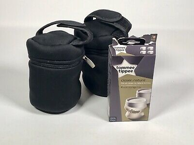 Tommee Tippee Closer to Nature Milk Storage Lids x4 + Bottle Insulated Bag x2