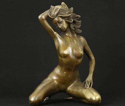 Antiques big copper hand carved woman statue collectable Statues