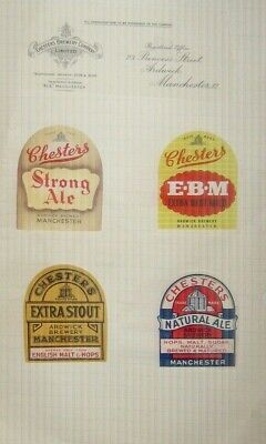 4 Old Chesters Beer Labels Nice Lot 1950s Manchester