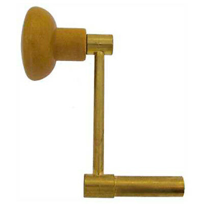 1 x New Brass Longcase Crank Clock Key Wood Handle Traditional, Size  - 7.50 mm