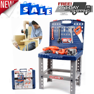 Toddler Workbench Tool Set Toy Boy Play Box Pretend Girl Kid Drill Learning Game