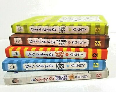 Lot of 5 - Diary of a Wimpy Kid Books by Jeff Kinney Hardback