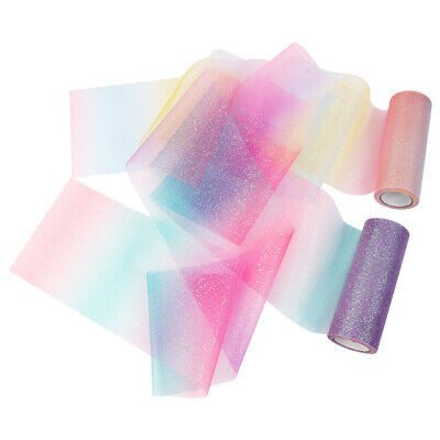 10Yard  Rainbow Glitter Tutu Tulle Roll Soft Netting Craft Fabric Wedding Decor