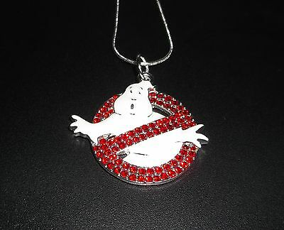 Unwanted GHOSTBUSTERS MOVIE Inspired LOGO Large Charm NECKLACE + Gift Bag