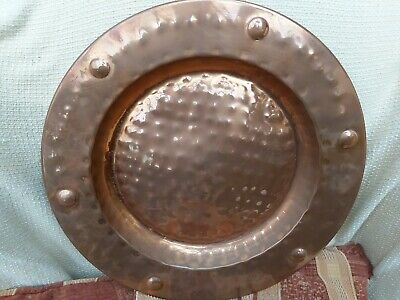 Antique Vintage Arts Crafts Hammered Copper Wall Charger Plate Plaque Dish 17""