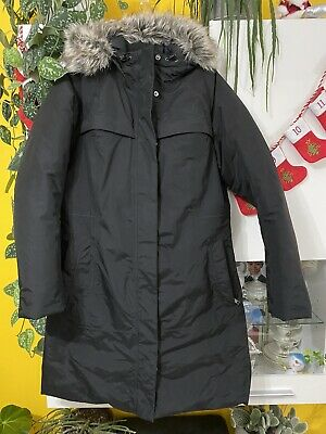 The North Face Ladies Black Long Hyvent Coat Goose Down Size L 14/16