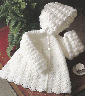 Vintage Baby Crochet Pattern Hooded Cape and Dress 0-9 months 4 ply Christening
