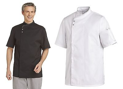 Leiber 12/2595 Men's Chef Jacket Bakers short Sleeve Black White