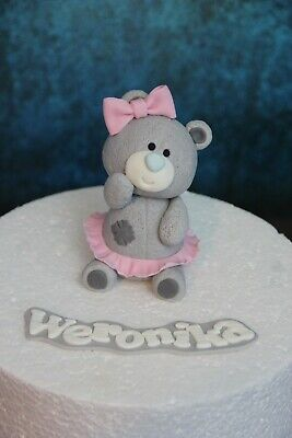 Edible handmade teddy bear and name birthday / baptism / baby shower cake topper