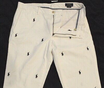 Polo Ralph Lauren Mens White Blue Pony Slim Fit Flat-Front Pants NWT 33 x 32
