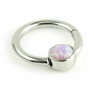 MEDICAL GRADE TITANIUM HINGED SEGMENT RING WITH OPAL DISK 1.2mm x 8mm