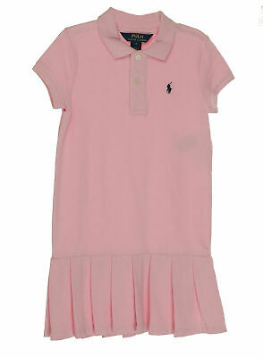 Polo Ralph Lauren Girl's Collared Pleated Polo Dress Pink Size 5