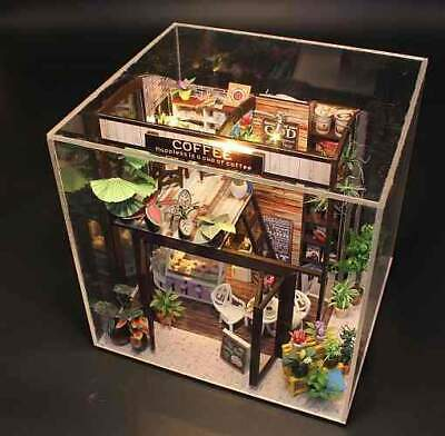 DIY Miniature Doll House 'Coffee House Shop' w/ LEDs, Dust Proof Cover, Music Mo