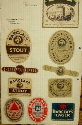 10 Old Barclays Beer Labels Nice Lot 1950s London