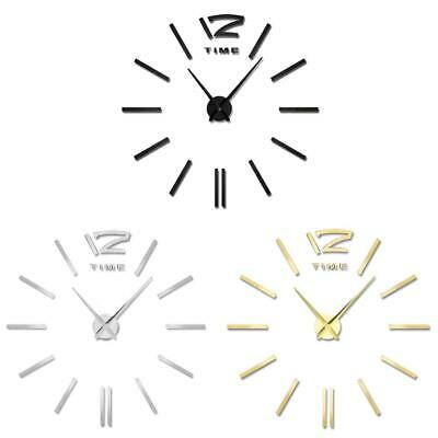 Modern DIY Wall Clock 3D Mirror Surface Sticker Home Decor Art Design Kit Mute