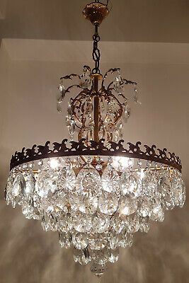 Antique Vintage Brass & BOHEMIA Crystals GIANT French Chandelier Lighting