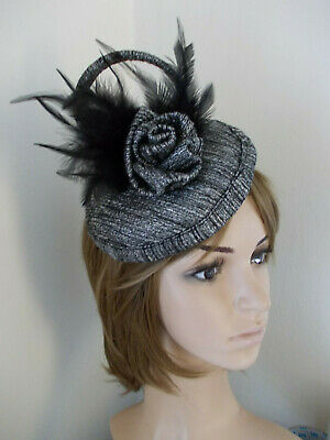 Black Silver Grey fabric sinamay pillbox fascinator rose feathers headband clips