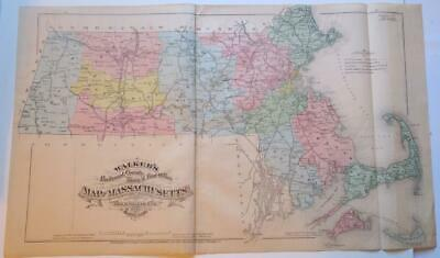 ORIGINAL HAND-COLORED 1879 MASSACHUSETTS RAILROAD,COUNTY,TOWNS,POST OFFICES Map