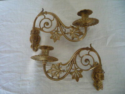 * Pair Antique Vintage Decorative Brass Candlestick Holders Wall Sconce Candle *