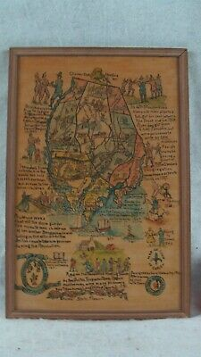 Antique 1941 Lucy Walmsley Charter Oak  Connecticut Pictorial Map