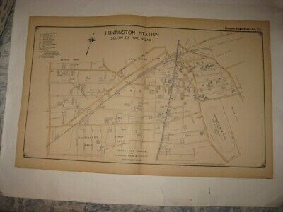 Antique 1917 Huntington Station South Part Long Island New York Map Horse Track