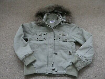 Girls Age 9 Yrs Cotton Bomber Style Hooded Jacket/Coat In Khaki From Tammy
