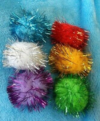 Set  6 Tinsel Glitter Pompom Cat Or Kitten Chase Toys Uk Seller Carbon 3.5Cm