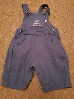Baby Boy Mothercare Blue Train Dungarees Size Tiny Baby (up To 7.5lbs)