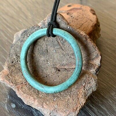 "Large Celtic Bronze Ring /Pendant /""Proto money"" (Pre-Coins) / Nice green patina"