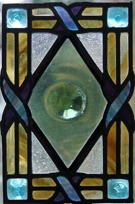 Stunning English Victorian Stained Glass Window With Huge Central Rondel