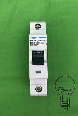 Hager NB150 MCB. Single Pole Type B 50 Amp Circuit Breaker