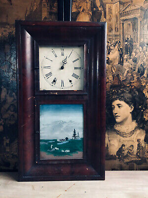 Antique/Vintage Large Heavy Hand Painted Wall Hanging Clock Case For Restoration