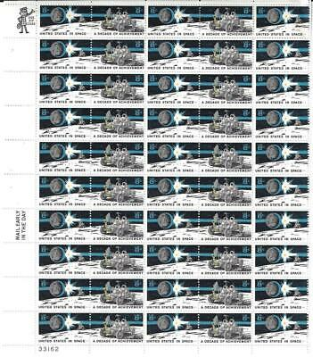 Us Scott 1434 - 35 Pane Of 50 United States In Space Stamps 8 Cent Face Mnh
