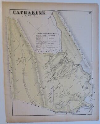 Originl 1873 Hand Colord Map,Catharine Township,Blair County,Pa,Canal,Businesses