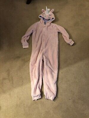 M&S Fluffy Unicorn Onesie (not Gerber) / All In One. Pink . Age 7-8.
