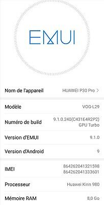 Huawei P30 Pro 8GB 128GB Dual Sim Breathing Crystal,Comme neuf version française