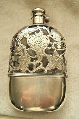 Sterling Silver Overlay Whiskey Flask ½ Pt