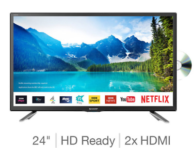 24 Inch LED Smart Apps TV Sharp HD Ready Built-In DVD Player Freeview HD Black